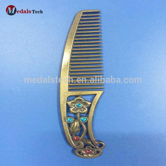 Custom antique bronze plated retro metal cutting hair comb wholesale
