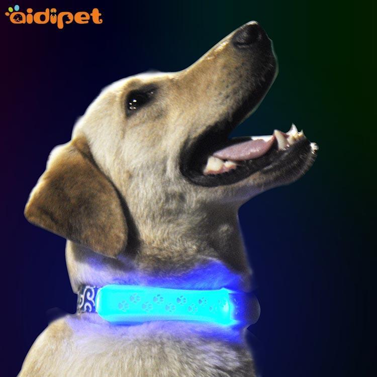 LED shining soft silicone dog print collar cover