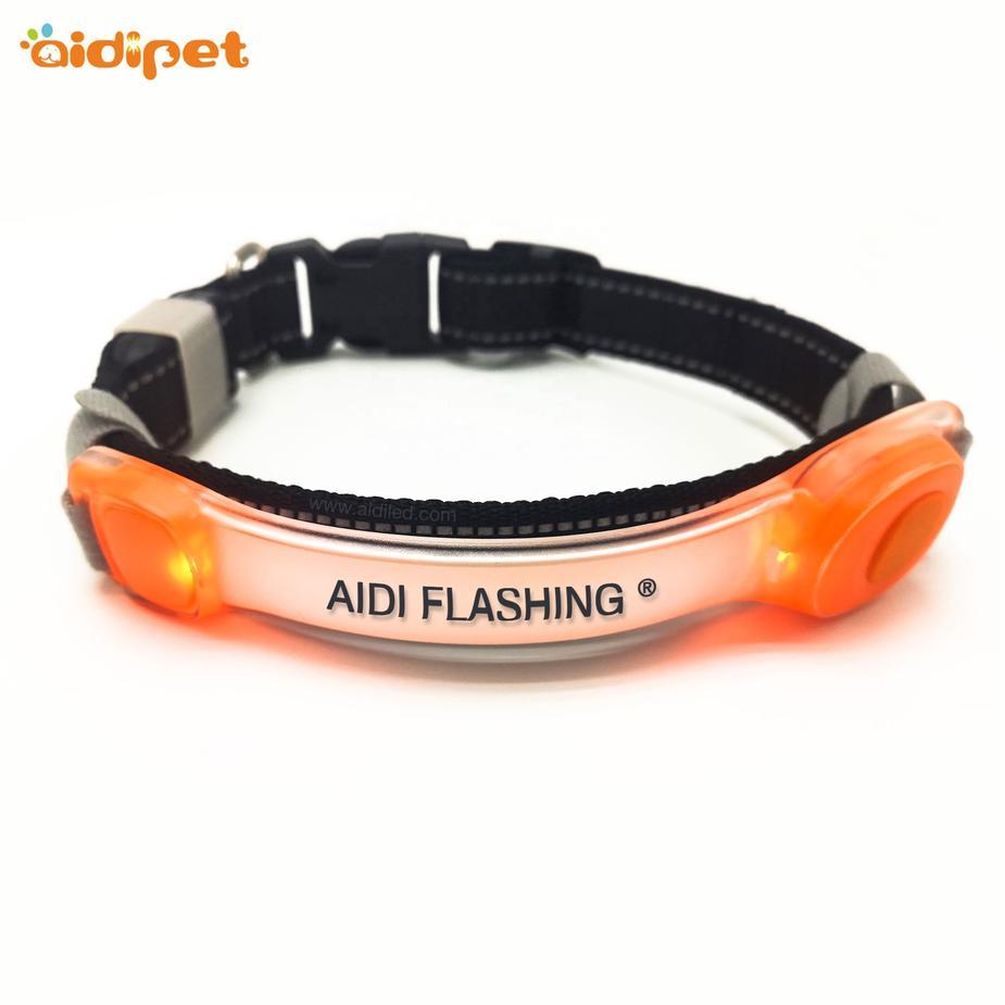 LED TPU Glow In the Dark Dog Collar Accessory Light Up AIDI Flashing Pet Collar for Dog Night Safety