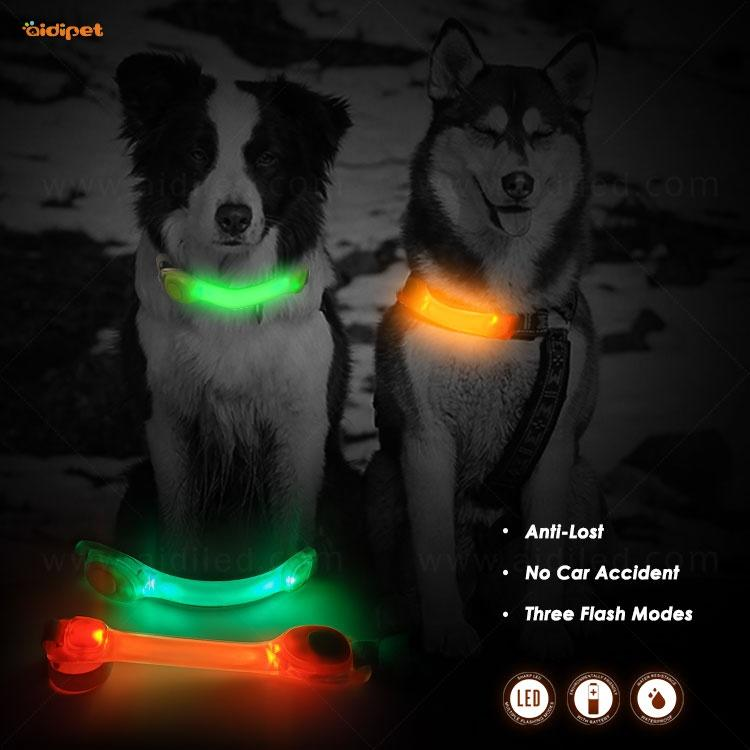 AIDI New Launch Led Flashing TPU Light for Dog Collar Multifunction Luminous Light Up Dog Collars Leash Light