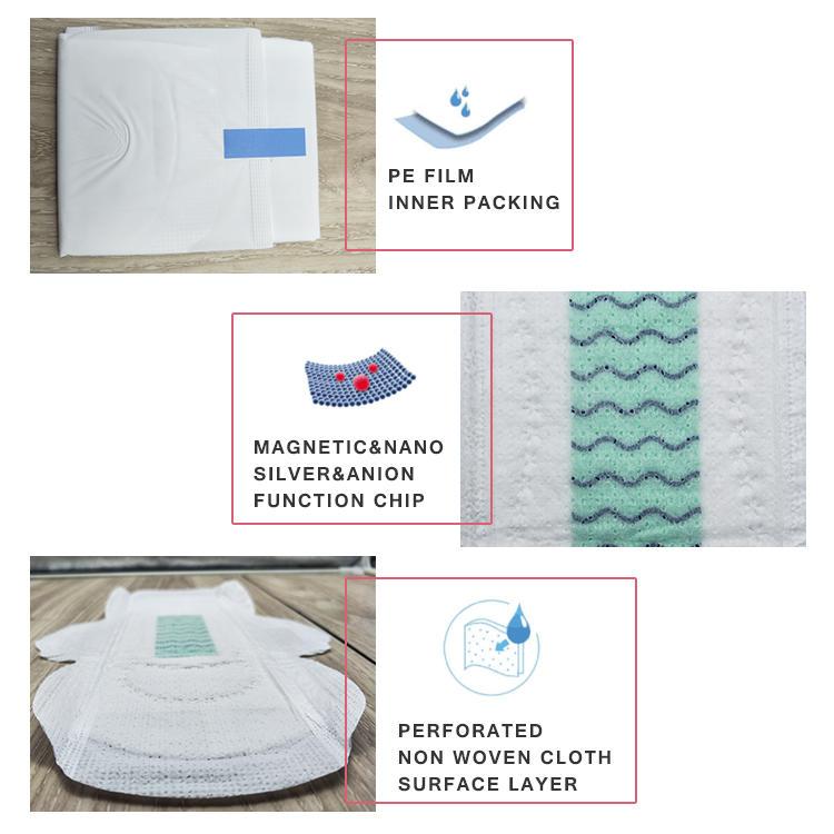 Extra care night use sanitary napkin pad super absorbency sanitary napkin with negative ion