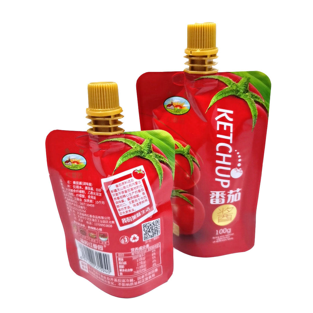 Customized 100ML packing bags spout pouch for Ketchup sauce