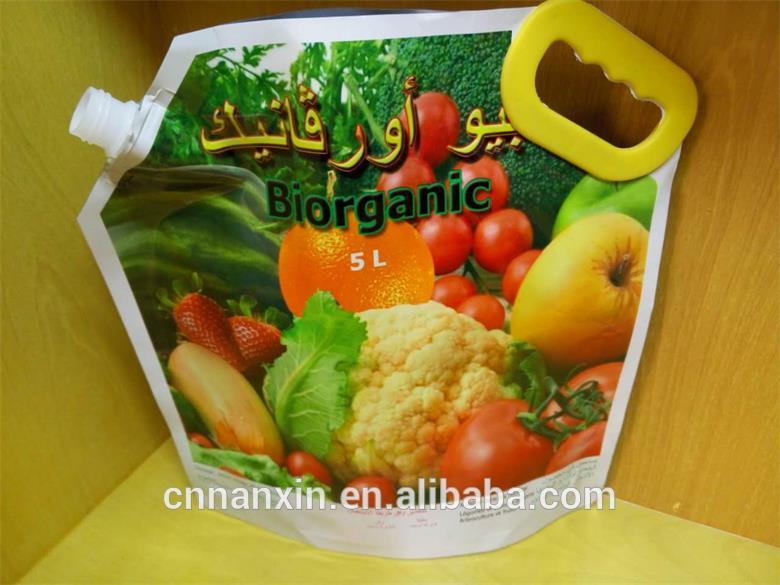 plastic bag packaging with handle & spout for vegetable washing detergent
