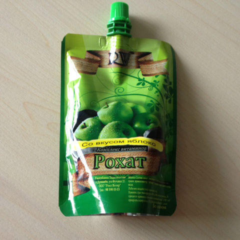 liquid packaging stand up pouch with nozzle for juice and beverage packing