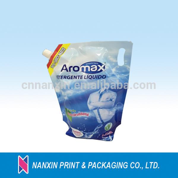 2L liquid spout pouch for laundry detergent nylon packaging bags