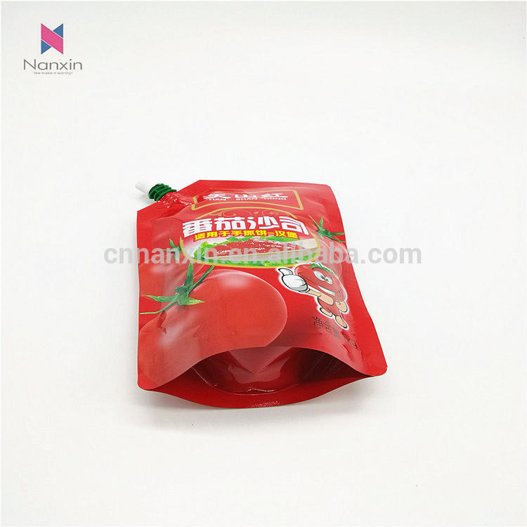 tomato ketchup stand-up pouch with spout chinese factory supplier food packaging and printing
