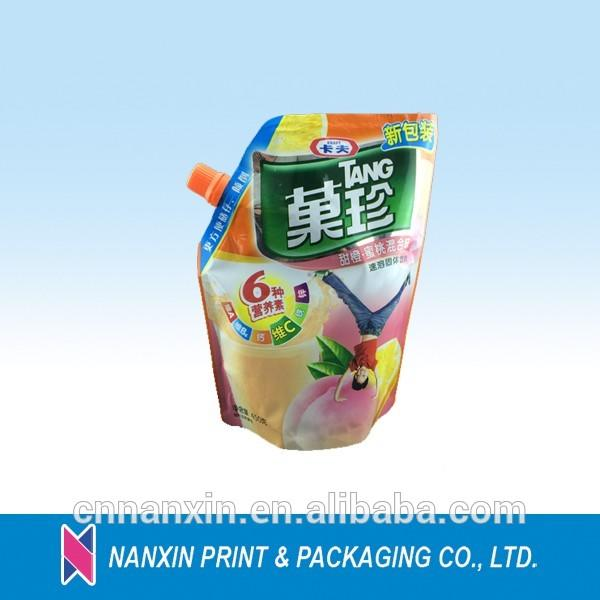 popular style stand up pouch with spout for tang instant drink