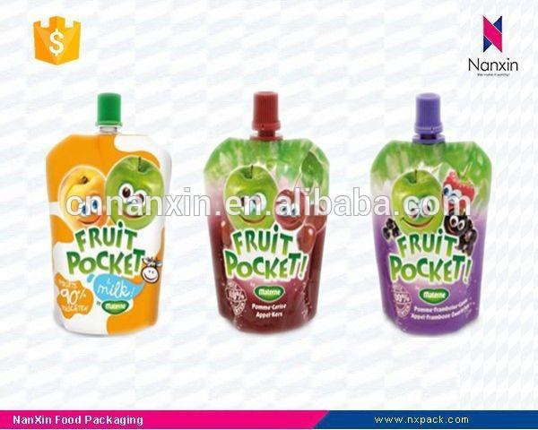 PET/PE fruit juice packaging flat bottom pouch with spout
