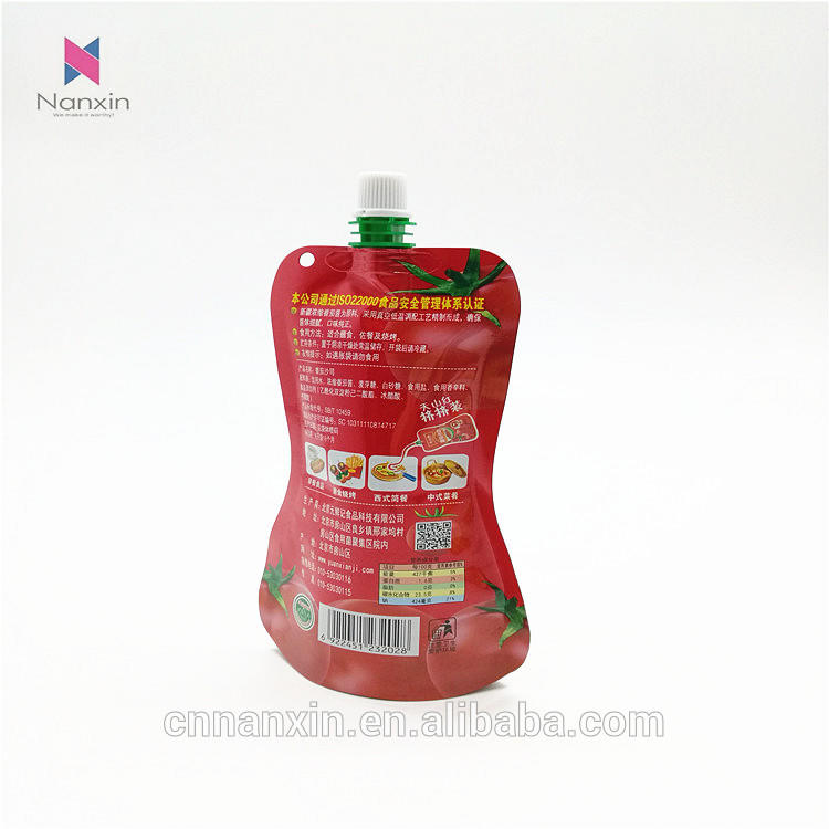 bell pepper sauce packaging stand up pouch with spout