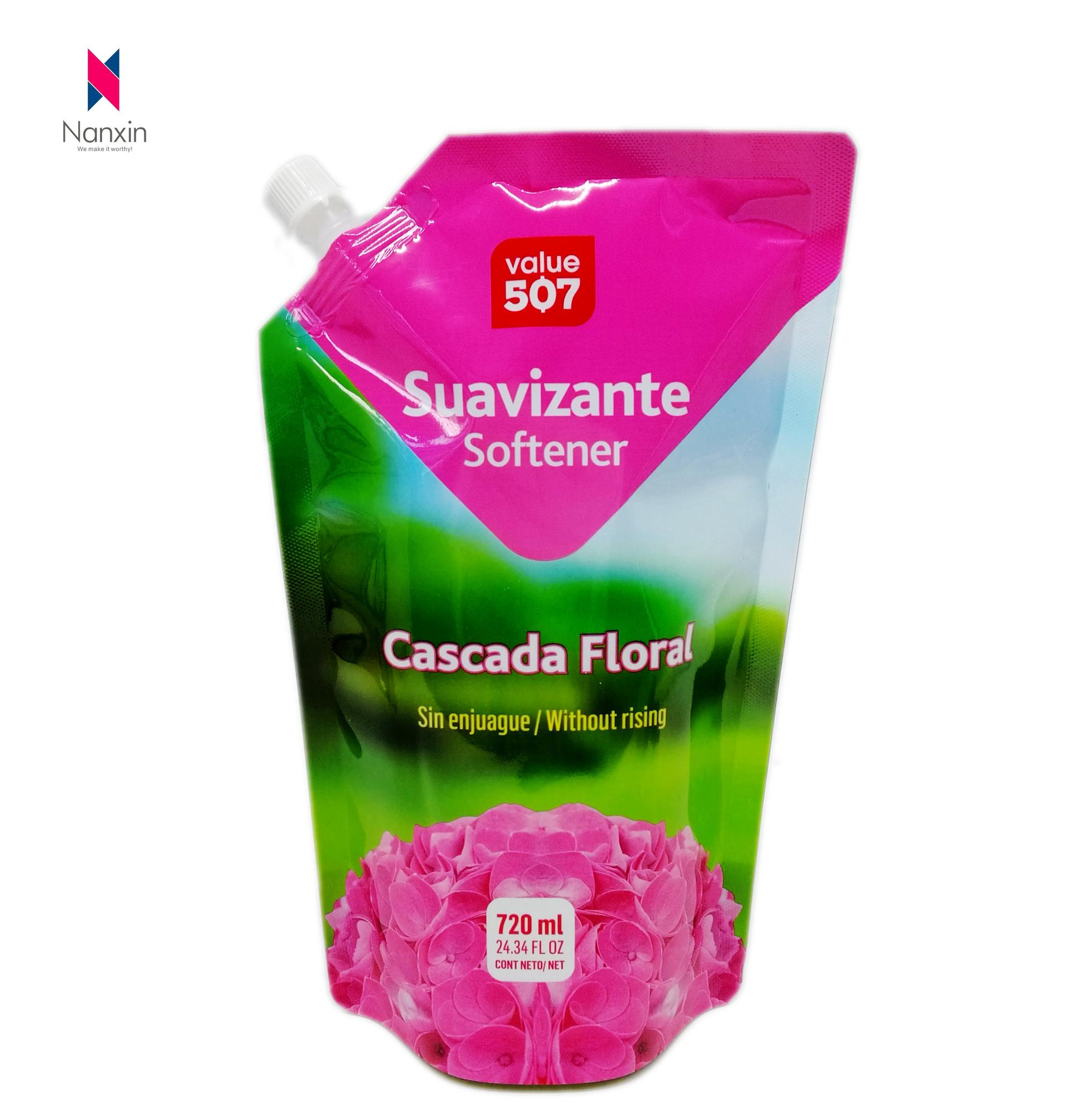 720ml customized logo standup liquid pouch with corner spout for softener packaging