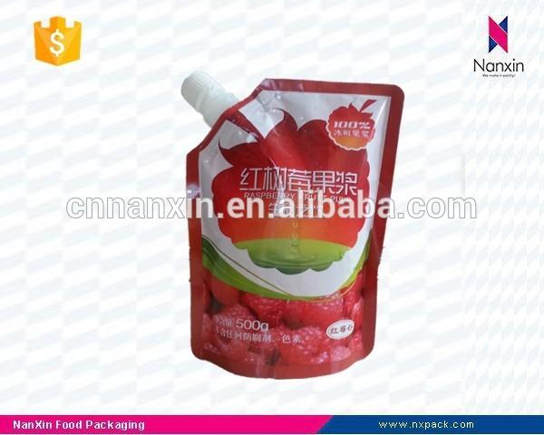 plastic fruit pulp packaging bag with spout