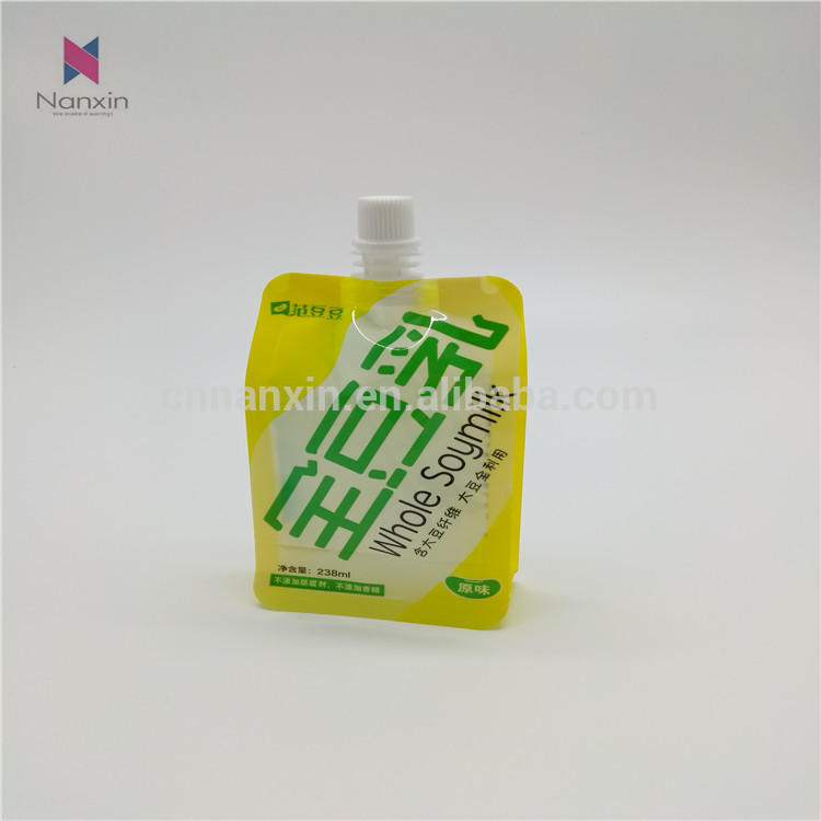 china factory supplier whole soymilk flat bottom pouch with spout