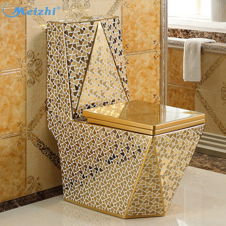 Siphnoic golden color elongated toilet