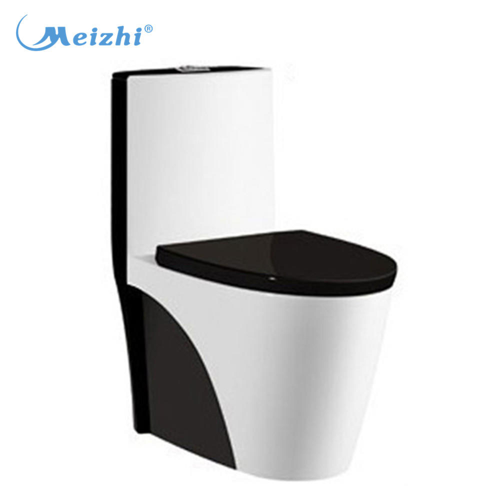 Colorful siphonic one piece black and white toilet