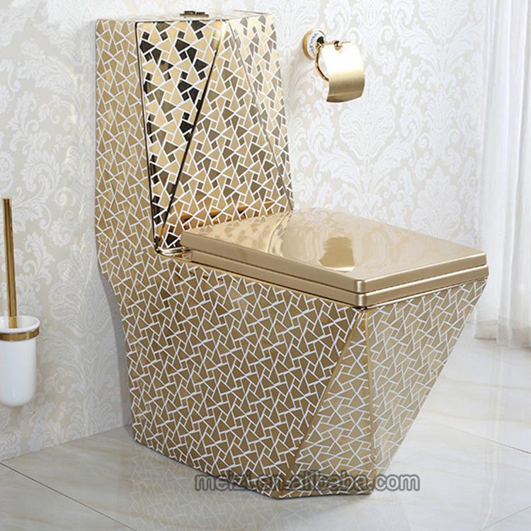 Golden ceramic one piece karat toilet parts