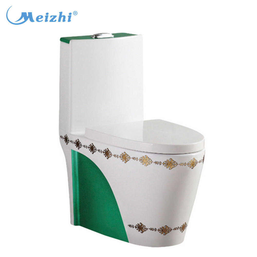 Siphonic one piece dark green toilet
