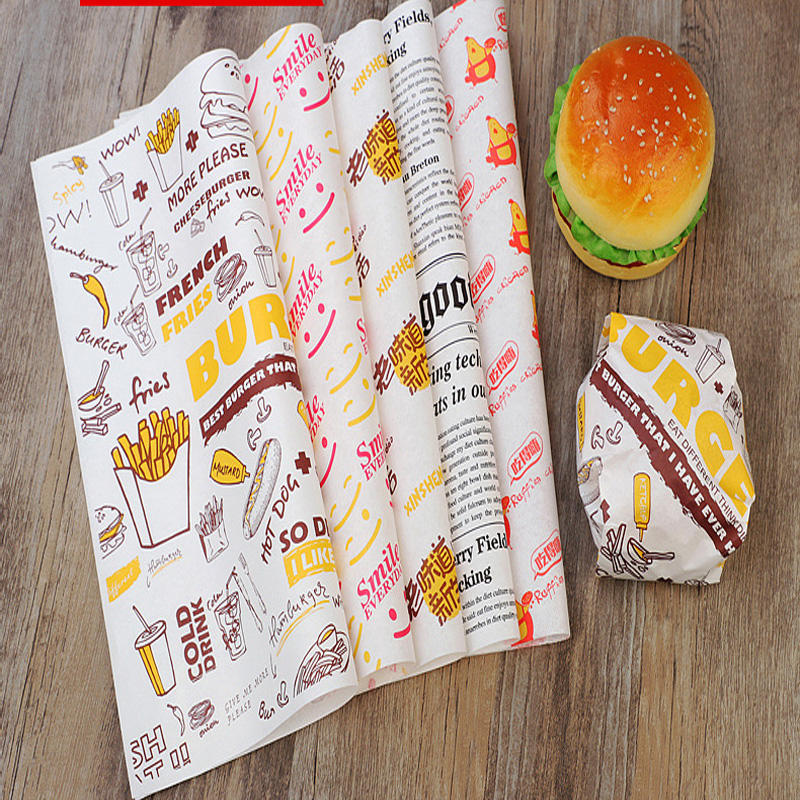 Wholesale Custom Design Size PE Coated Sandwich Burger Meat roll Bread Packaging Paper Food Grade Wrapping Paper