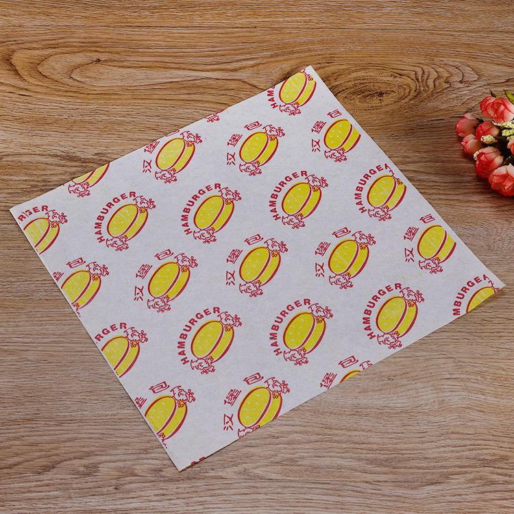 Printed Oil Proof Packaging Sandwich Wrap Burger Aluminum Foil Pocket Food Grade Paper