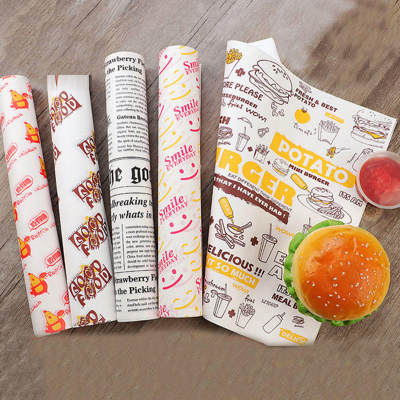 Grease Resistant Wrapping Paper Packaging Tissue Paper Custom Printed Grease Proof Burger Shawarma Wax Sandwich Paper