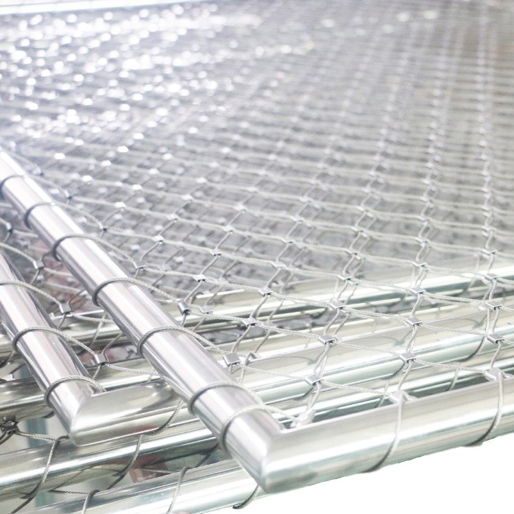 Prefabricated Stainless Steel Wire Rope Mesh Tubular Frame Panel