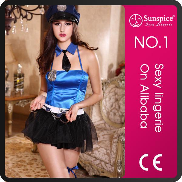 Sunspice hot sale fashion style leather police costume