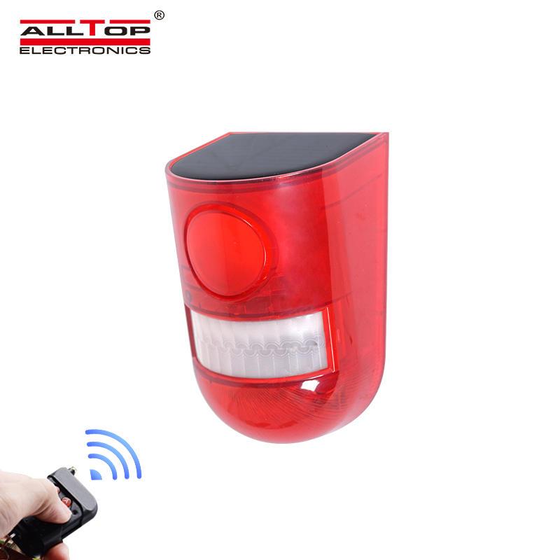 ALLTOP Factory Directly Sell Solar Alarm System Intruder Security light PIR Motion Sensor Solar Siren Solar alarm light