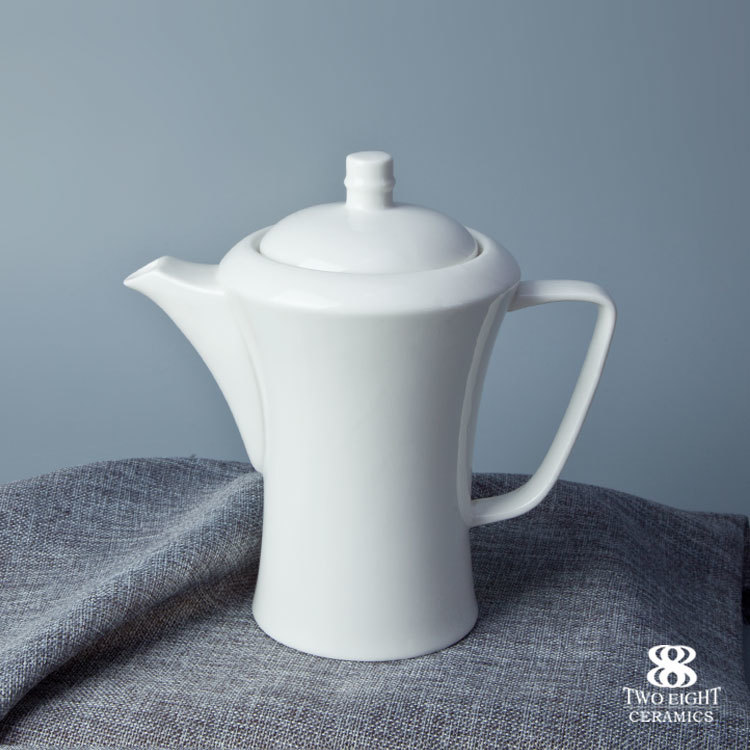 Hotelware Porcelain Tableware Fine Ceramic White Crockey tea and coffee pot for 5 star