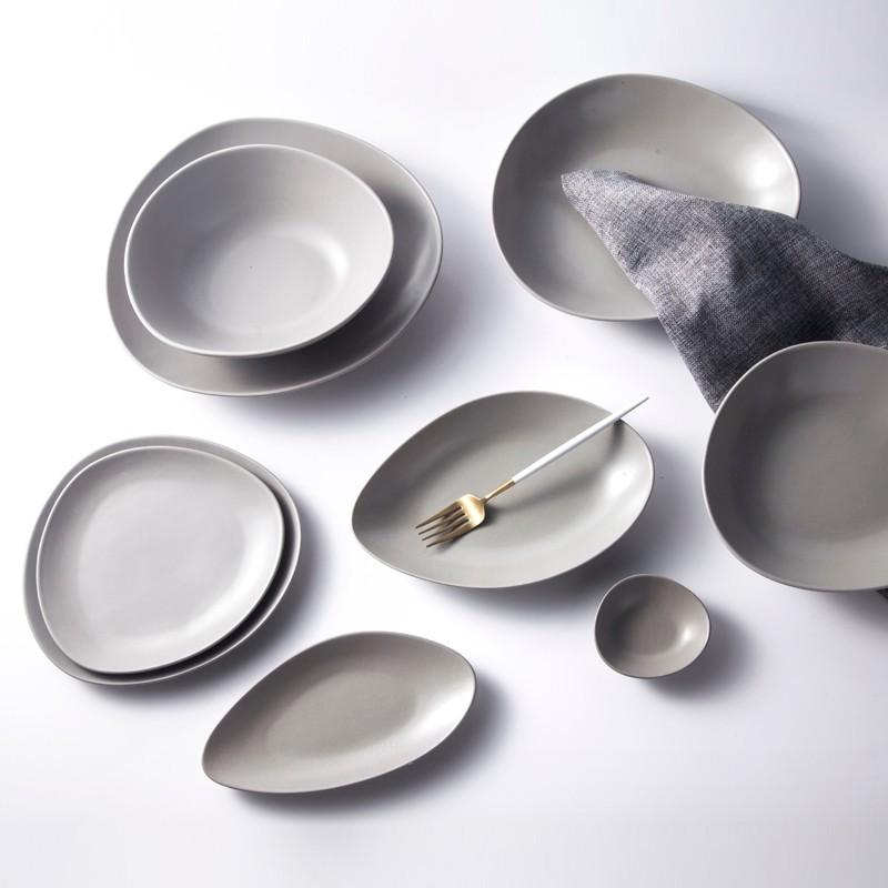 Restaurant Hot Plate Rustic Stone Stoneware, Black/ Grey/ White Color Porcelain Plate Restaurant, Colorful Dinnerware Sets*