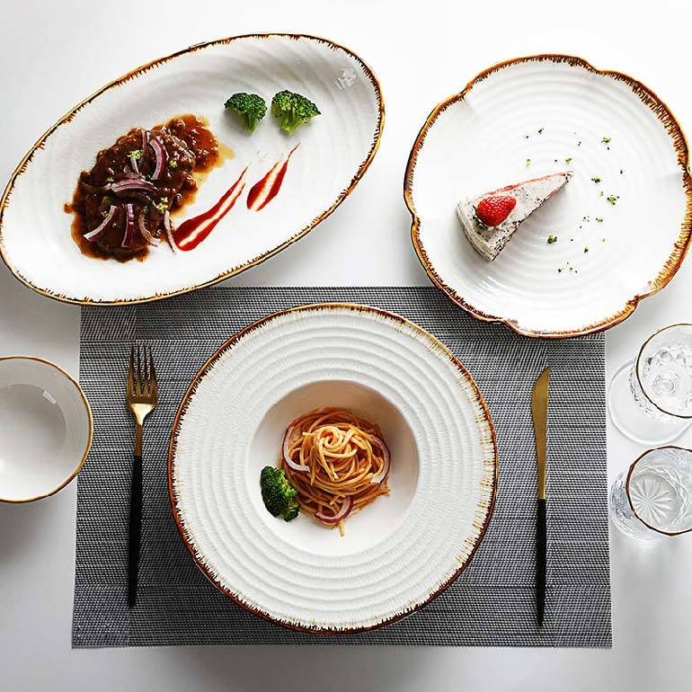 Color Rustic Tableware For Wedding, High Quality Restaurant Supplies Export Porcelain Tableware