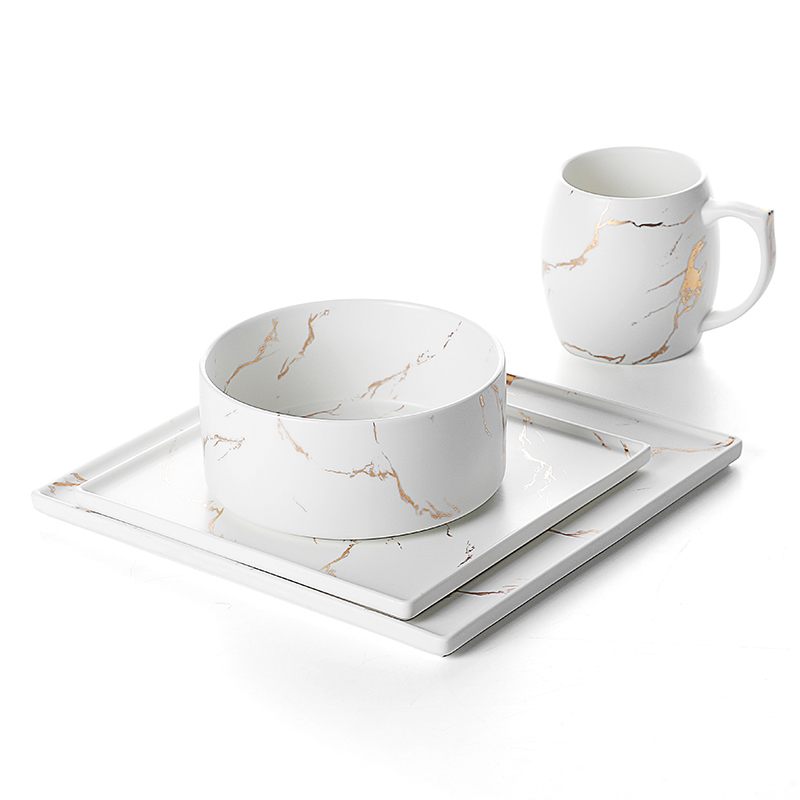 Vajillas De Porcelana Ceramic Porcelain Marble Set, Tableware Marble, Gold Dinnerware Sets%