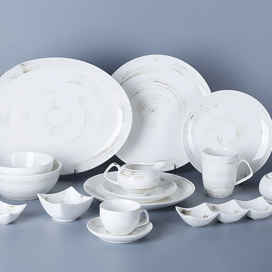 Ceramic Nordic Tableware, Rustic Design English Style Porcelain Dinnerware Set, Restaurant Used Crockery Dinner Set#