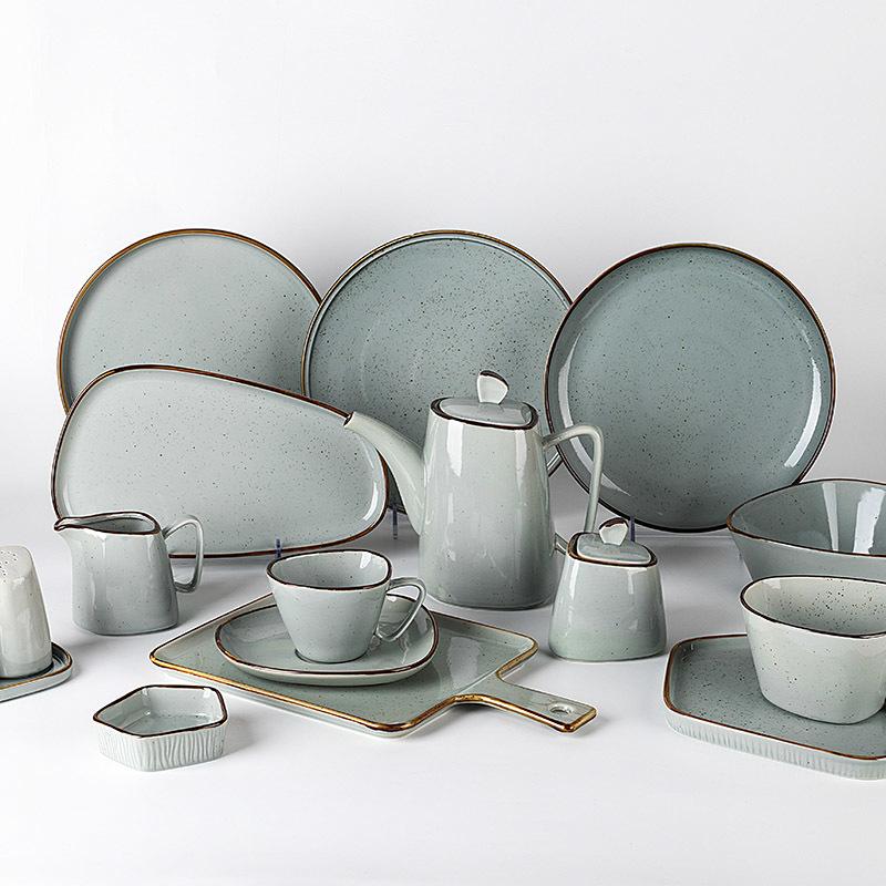 Green Rustic Reactive Glaze Stoneware Dinnerware Set, High Grade Porcelain Tableware, Color Glazed Porcelain Dinner Set@