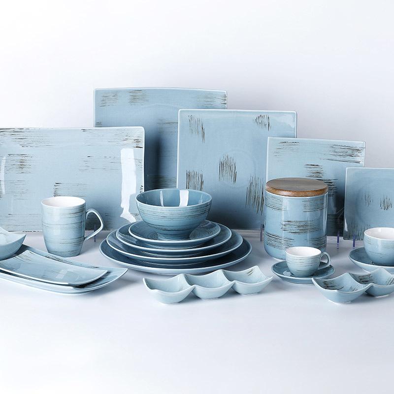 Hotel Ceramic Dinnerware Blue And White Ceramics Rustic Plates, Wholesale Ceramic Plates, Color Glazed Stoneware Dinnerware*