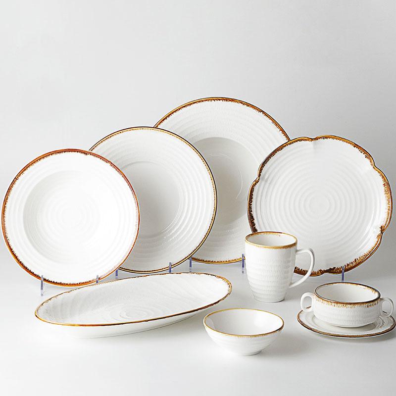 Color Rim Brand Ware Dinnerware Set, Rustic Tableware For Wedding, Brown Rim Ceramic Japan Crockery
