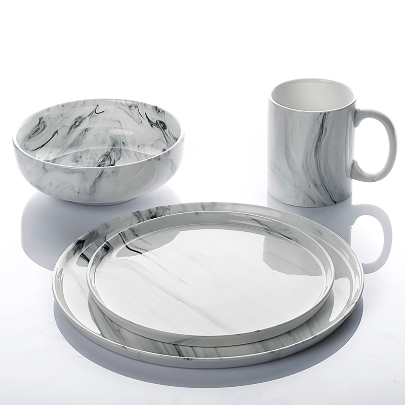 High Quality Restaurant Supplies Plate Marble Set, Color Tableware Set Hotel, Marble Ceramic Dinnerware Sets