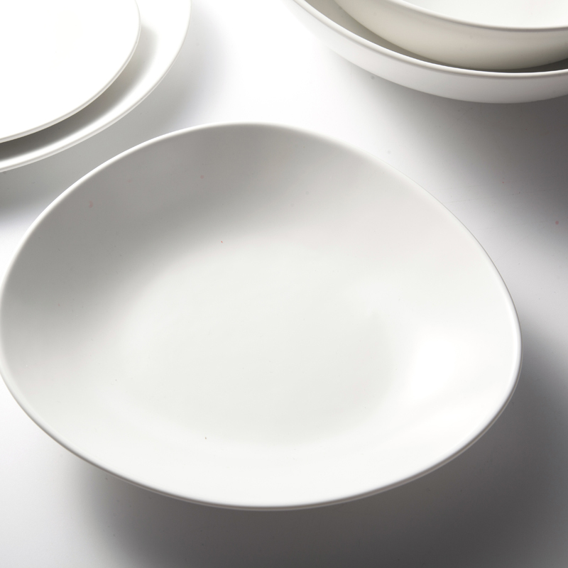 hotel and restaurant white ceramic dinnerware set matt white tableware set