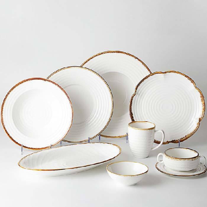 Wholesale Chaozhou Chip Resistant Color Rim Porcelain Dinner Set, Hotel Set Tableware Ceramic, Rustic Antique Dinner Set&
