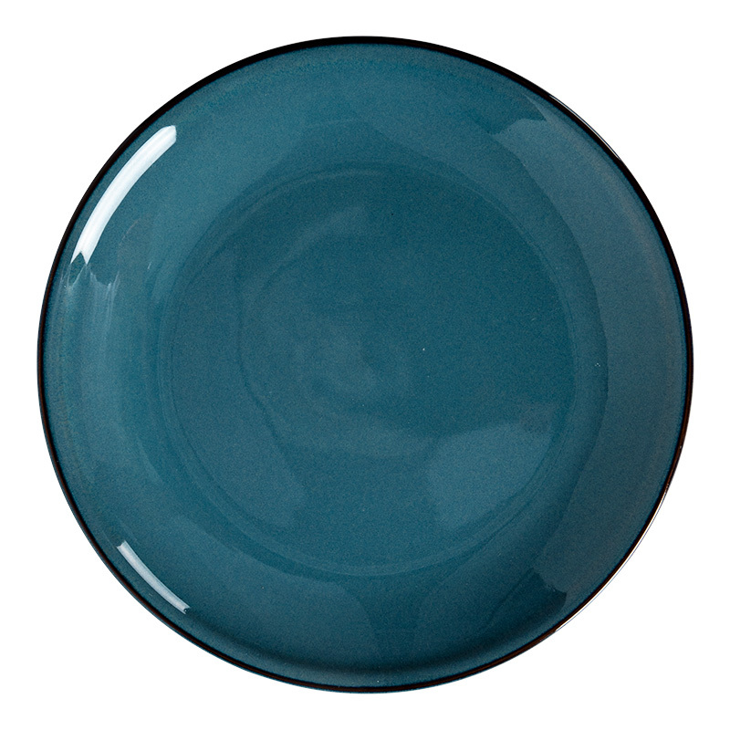 Rustic Stone Colorful Plates Round Rustic Tableware, Color Glazed Modern Restaurant Plates*