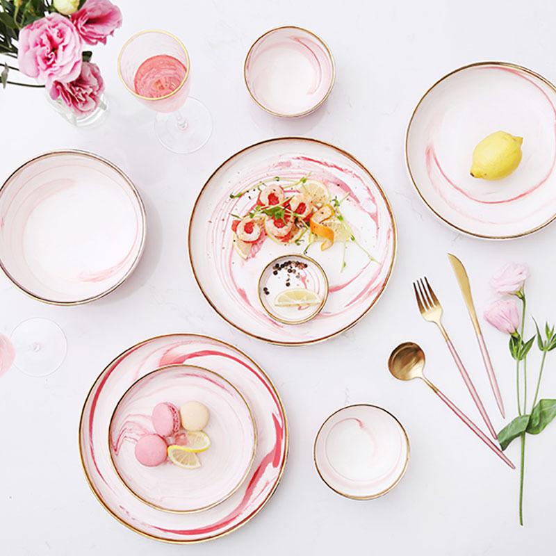 Pink Marble 10 Inch Dinner Set Porcelain LFGB Certificate Dinner Set Tableware/
