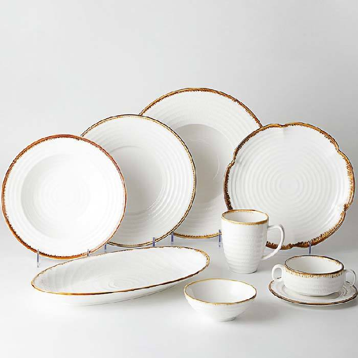 Catering Party Restaurant Ceramic Porcelain Plate Dinner Set, Tableware Set 30 Pcs, Banquet Hall Rustic Crockery Dinnerware Sets