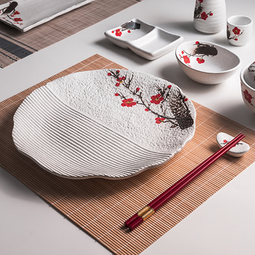 Two Eight Ceramics Red Plum Japanese Ceramic, High Quality Japanese Bowls, Porcelain Japanese Style Dinner Set/