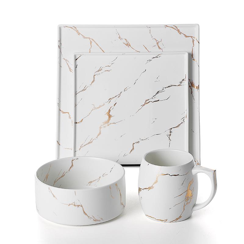 Durable Wholesale Restaurant Crockery Tableware, Gold China Ware For Hotel And Restaurant, Marble Wedding Ceramic Dinnerware^