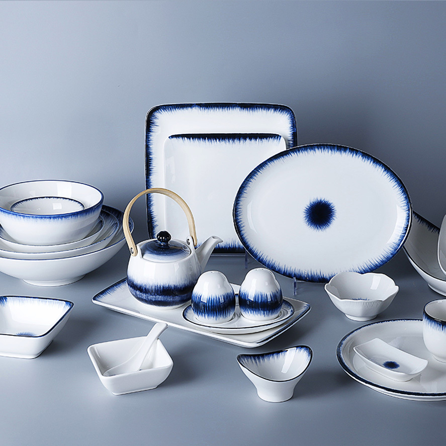 Two Eight Ceramics Reactive Glaze Blue White Chinese Porcelain Tableware, Blue White Japanese Tableware