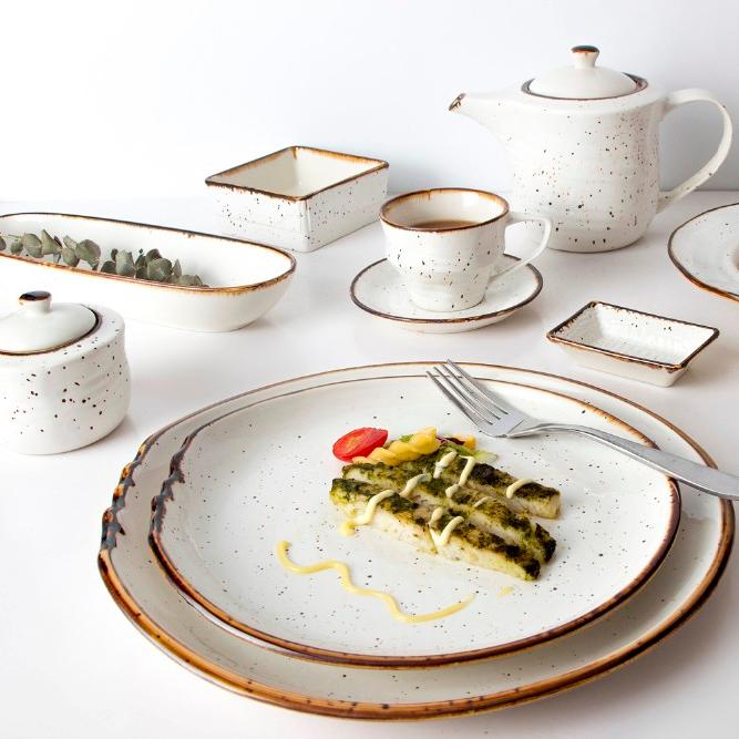 Horeca China Wholesale Dinner Set For Sale,Color Grey Restaurant Dinnerware Sets, RusticChina Ceramic Dinnerware Sets