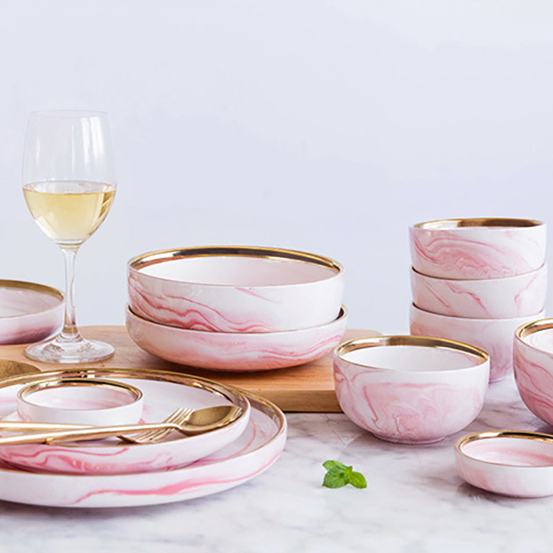 New 2019 Trending Product China Dinnerware Gold Dish Marble, Dinnerware Brand Names Hotel Use Gold Porcelain Dishes Pink*