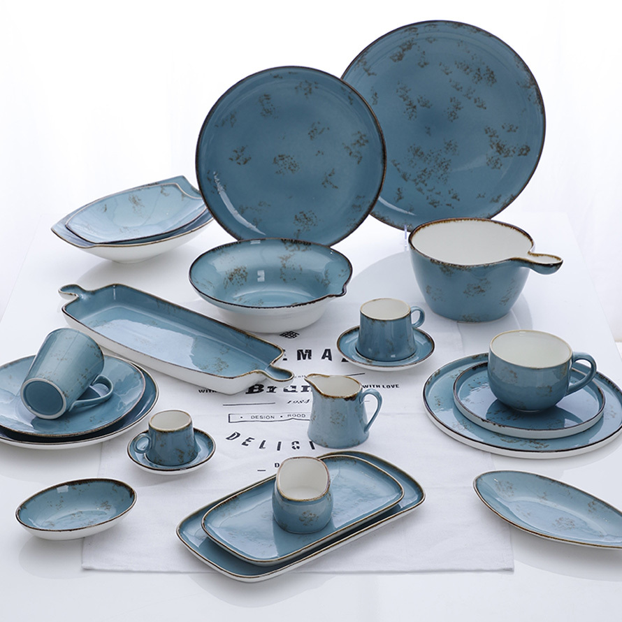 Blue Restaurant Porcelain Rustic Dinnerware Sets, Special Horeca Tableware Catering Porcelain Dinner Sets Ceramic Plates