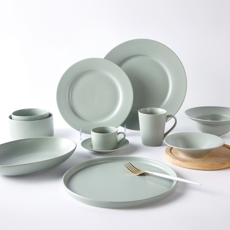 Restaurant supply crockery tableware matt green dinnerware sets