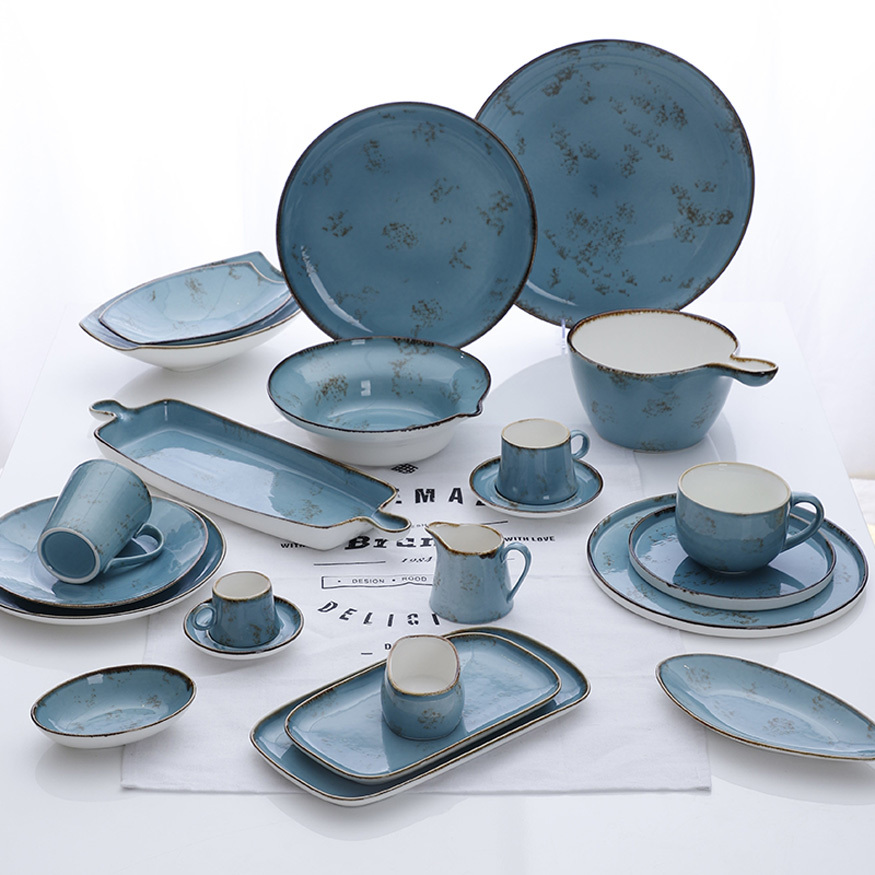 Blue Horeca Wedding Tableware, Special Catering Ceramic Dinnerware Set, Restaurant Used Dinner Dish Set$