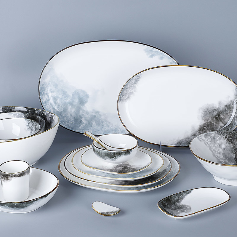 Hotel Ceramic Dinnerware Crockery Plate, Wholesale Rustic Plates, Porcelain Color Glazed Dinnerware^