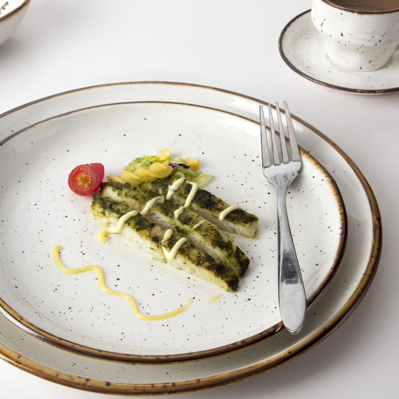 Colored Glazes Plates Ceramic Restaurant 8 / 10 / 12 inch, Thailand Dinnerware, Luxury Porcelain Tableware&